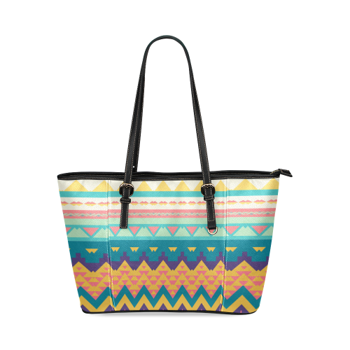 Pastel tribal design Leather Tote Bag/Small (Model 1640)