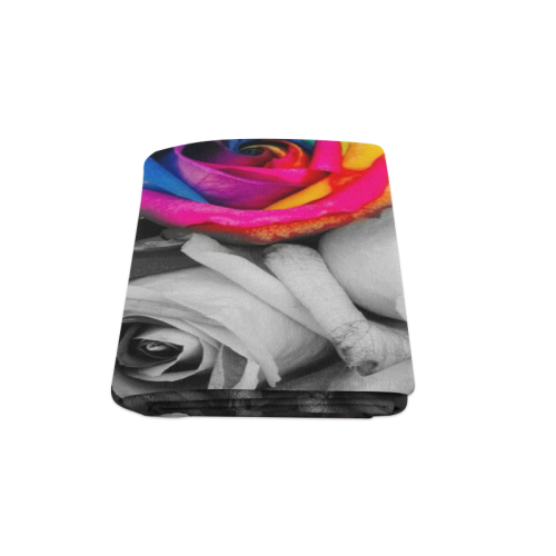 "black,white splash roses Blanket 58""x80"""