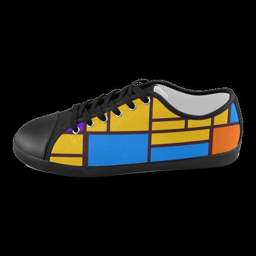 Shapes in retro colors Men's Canvas Shoes (Model 016)