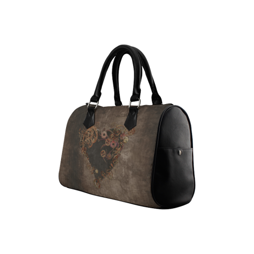 A decorated Steampunk Heart in brown Boston Handbag (Model 1621)