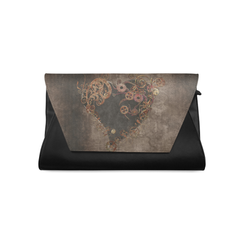 A decorated Steampunk Heart in brown Clutch Bag (Model 1630)