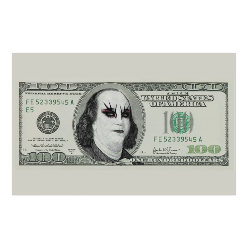 "Funny Money Gothic $100 Banknote Poster 23""x36"""