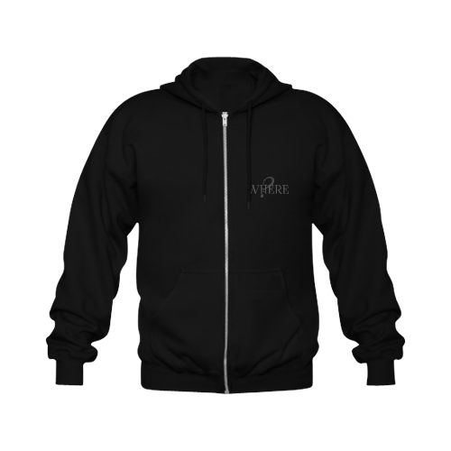 Where? Black Gildan Full Zip Hooded Sweatshirt (Model H02)