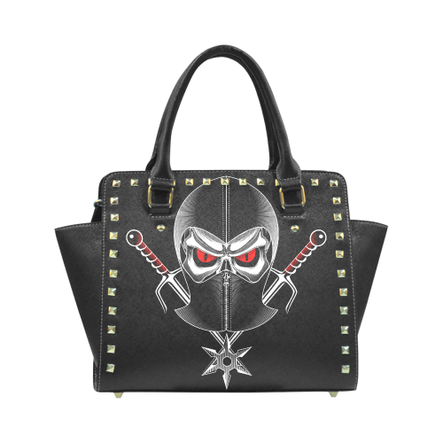 ninja Skull Rivet Shoulder Handbag (Model 1645)
