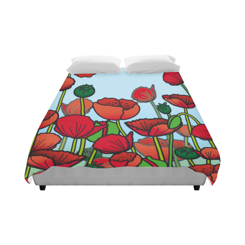 "field of poppy flowers red floral Duvet Cover 86""x70"" ( All-over-print)"