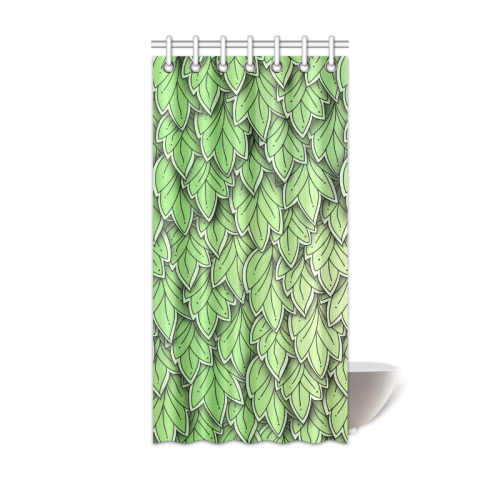 "Mandy Green hanging Leaves Pattern darker Shower Curtain 36""x72"""