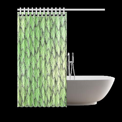 "Mandy Green hanging Leaves Pattern darker Shower Curtain 66""x72"""