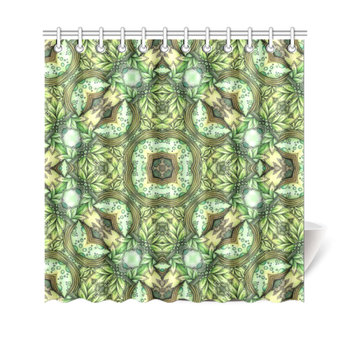 "Mandy Green - Fountain Foilage pattern Shower Curtain 69""x70"""