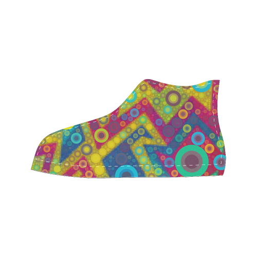 Psychedelic Bubbles Women's Classic High Top Canvas Shoes (Model 017)