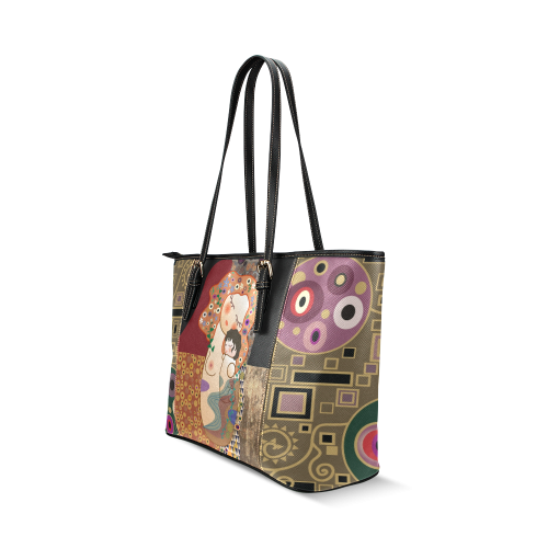 Kokeshis Klimt Leather Tote Bag/Small (Model 1640)
