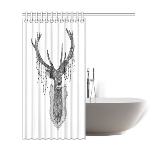 "Ornate Deer head drawing - pattern art Shower Curtain 69""x72"""