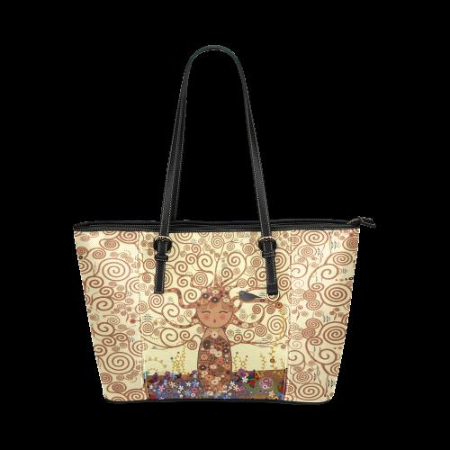 Kokeshi Tree of life Leather Tote Bag/Small (Model 1640)