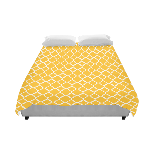 "sunny yellow white quatrefoil classic pattern Duvet Cover 86""x70"" ( All-over-print)"