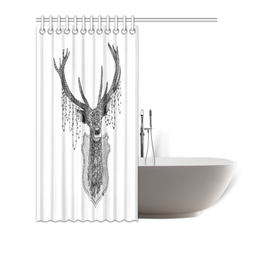 "Ornate Deer head drawing - pattern art Shower Curtain 72""x72"""
