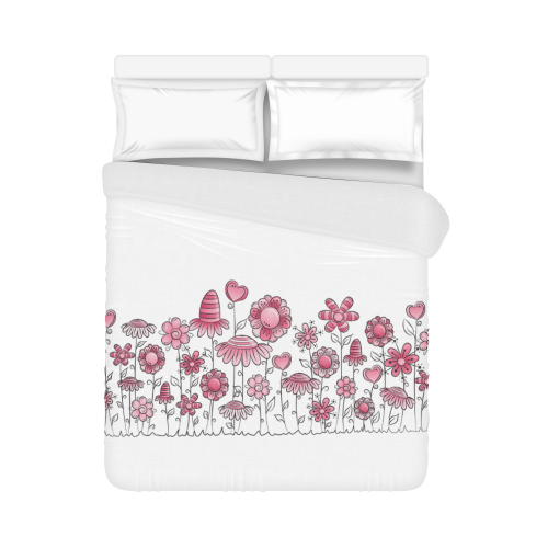 "pink doodle flower field Duvet Cover 86""x70"" ( All-over-print)"