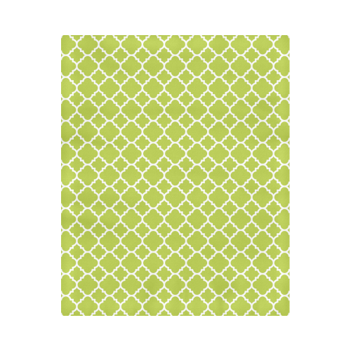 "spring green white quatrefoil classic pattern Duvet Cover 86""x70"" ( All-over-print)"