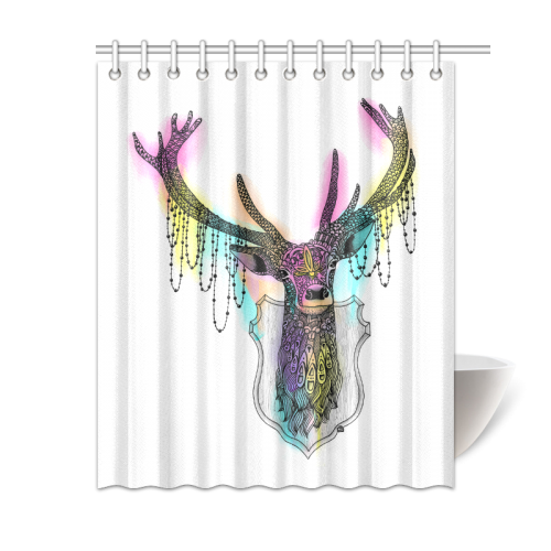 Ornate deer head shower curtain sizes
