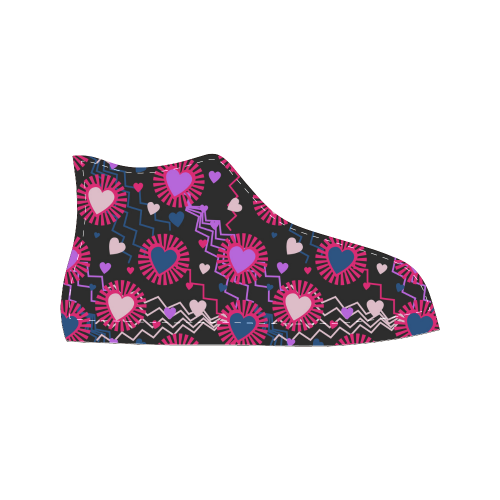 Punk Rock Hearts Women's Classic High Top Canvas Shoes (Model 017)