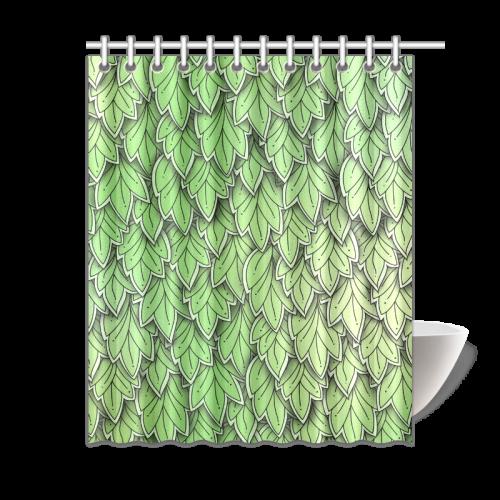 "Mandy Green hanging Leaves Pattern darker Shower Curtain 60""x72"""