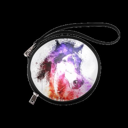 watercolor horse Round Makeup Bag (Model 1625)
