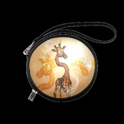 Funny unicorn giraffe Round Makeup Bag (Model 1625)