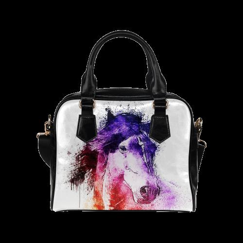 watercolor horse Shoulder Handbag (Model 1634)