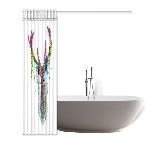 "Watercolor deer head, ornate animal drawing Shower Curtain 72""x72"""