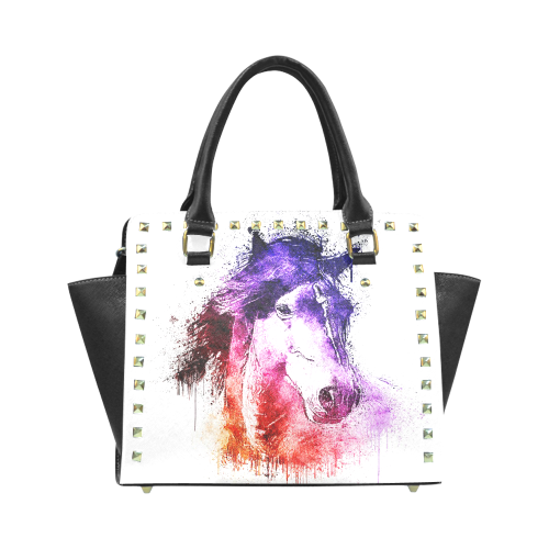 watercolor horse Rivet Shoulder Handbag (Model 1645)