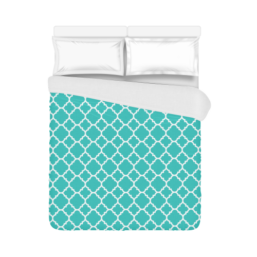 "turquoise white quatrefoil classic pattern Duvet Cover 86""x70"" ( All-over-print)"