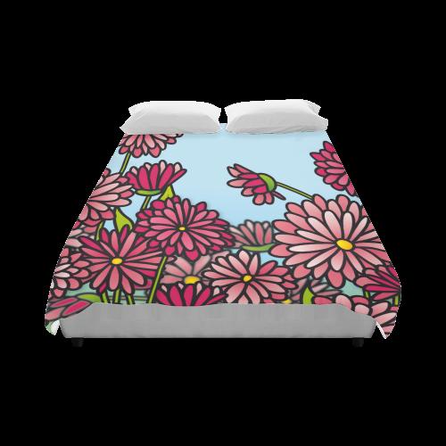 "chrysantenum flower field pink floral Duvet Cover 86""x70"" ( All-over-print)"