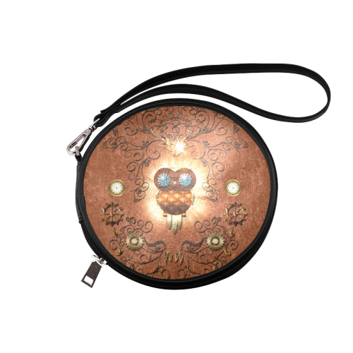 Steampunk, cute owl Round Makeup Bag (Model 1625)