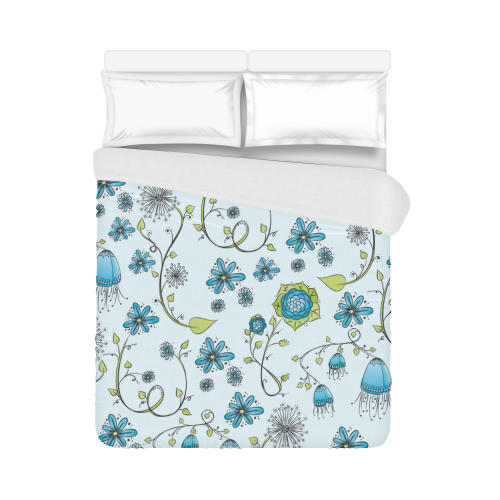 "blue fantasy doodle flower pattern Duvet Cover 86""x70"" ( All-over-print)"
