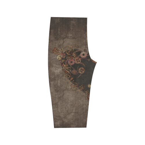 A decorated Steampunk Heart in brown Hestia Cropped Leggings (Model L03)