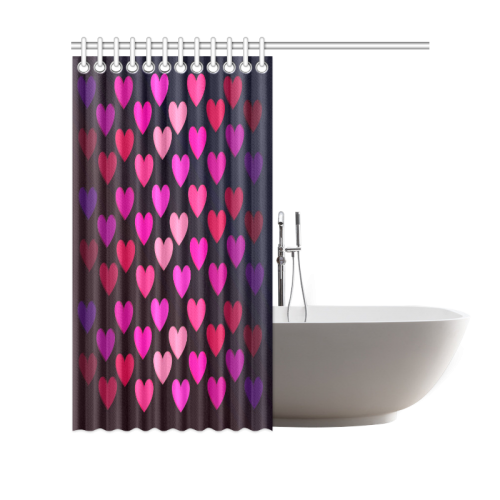 "hearts on fire-2 Shower Curtain 69""x70"""