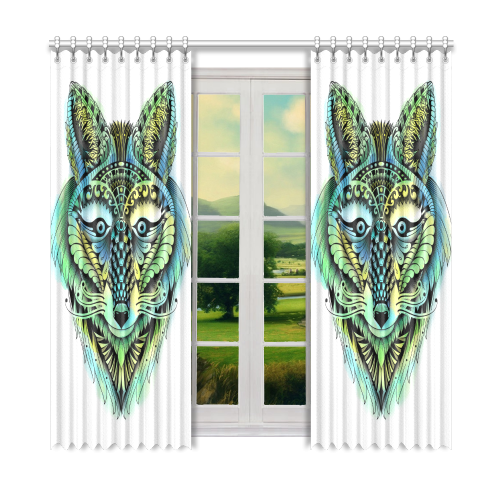 """water color ornate foxy wolf head ornate drawing Window Curtain 52"""" x 84""""(One Piece)"""
