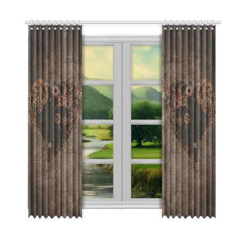 """A decorated Steampunk Heart in brown Window Curtain 52""""x108""""(Two Piece)"""