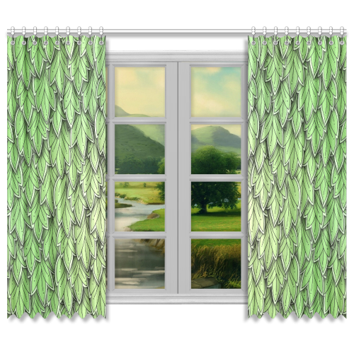 "Mandy Green hanging Leaves Pattern darker Window Curtain 50""x84""(Two Piece)"