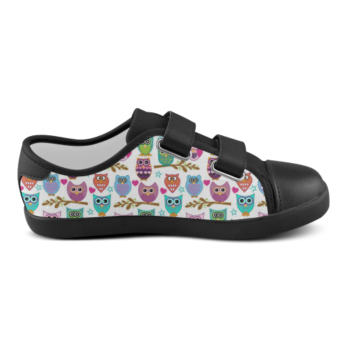 happy owls Velcro Canvas Kid's Shoes (Model 008)
