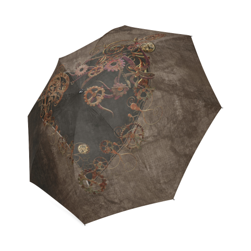 A decorated Steampunk Heart in brown Foldable Umbrella (Model U01)