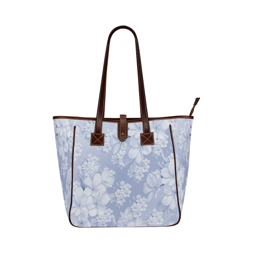 Delicate floral pattern,blue Classic Tote Bag (Model 1644)
