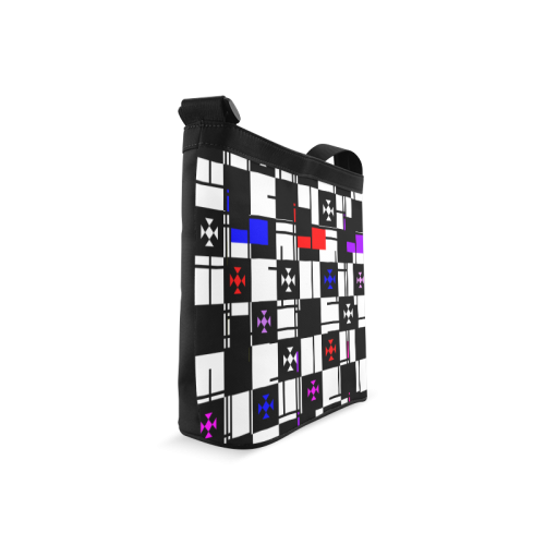 Squares, black,white Crossbody Bags (Model 1613)