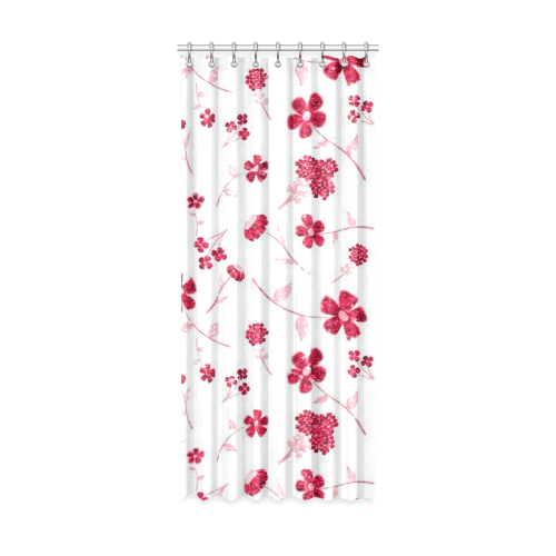 "sweet sparkling floral, red Window Curtain 52"" x 120""(One Piece)"