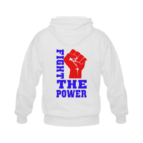 FIGHT THE POWER Gildan Full Zip Hooded Sweatshirt (Model H02)