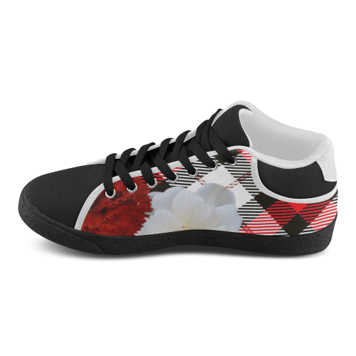 red white plaid flowers Women's Chukka Canvas Shoes (Model 003)