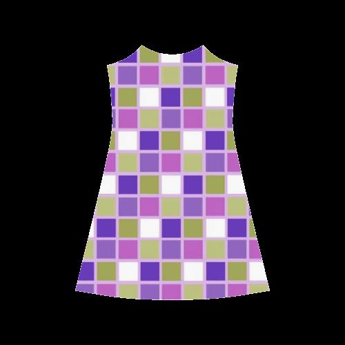 Harlequin Sage Green Lavender Purple Color Tiles Alcestis Slip Dress (Model D05)