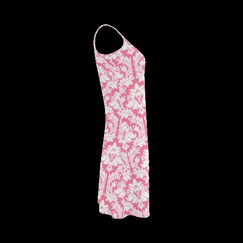 damask pattern pink and white Alcestis Slip Dress (Model D05)