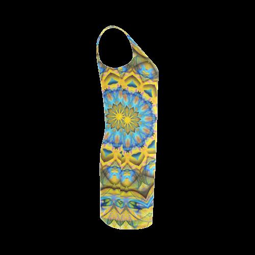 Blue Sky Golden Cornfield mandala abstract art Medea Vest Dress (Model D06)
