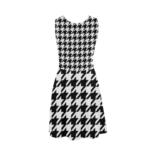 black and white houndstooth classic pattern Atalanta Sundress (Model D04)