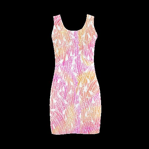 pink yellow white feather pattern Medea Vest Dress (Model D06)