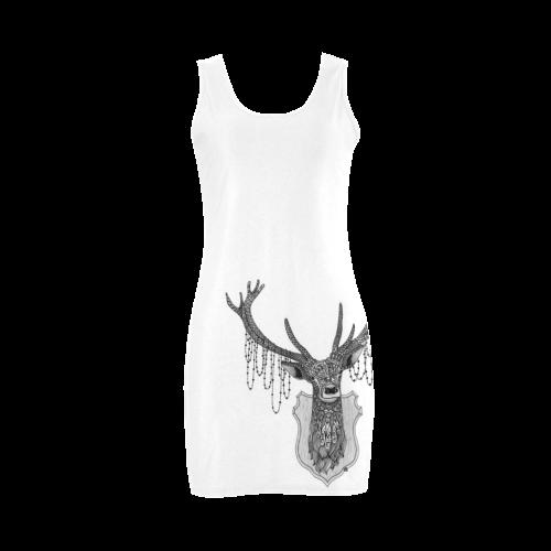 Ornate Deer head drawing - pattern art Medea Vest Dress (Model D06)